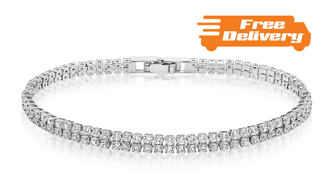 18K White GoldPlated Tennis Bracelet with Clear CZ Crystals