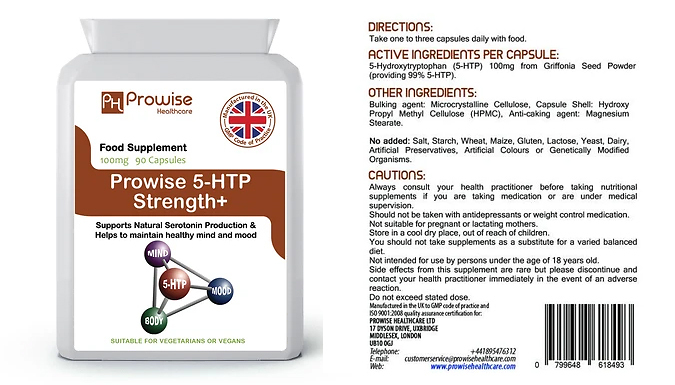 3-Month Supply of Prowise 5-HTP 100mg - 90 Capsules!