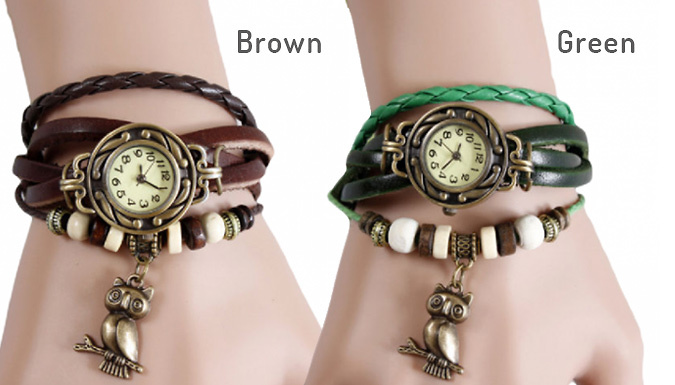 Classic Vintage Owl Charm Bracelet Watch - 6 Colours