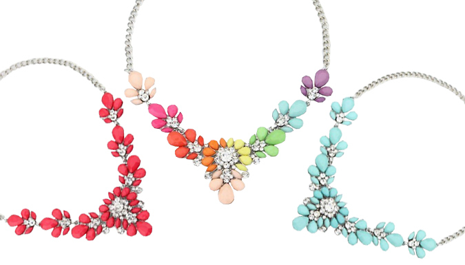 Crystal Flower Statement Necklace - 3 Colours