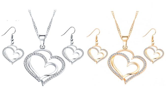 Love Heart Necklace & Earrings Set  2 Colours