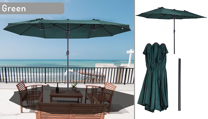 Giant Twin Parasol with Crank - 7 Colours