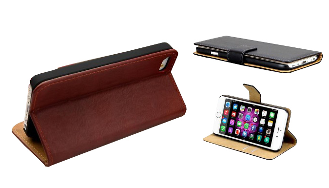 Wallet Stand Case for iPhone 5  5S 6 or 6 Plus  3 Colours