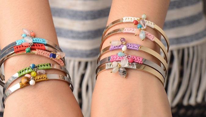 Calypso Embroidered Bangle with Beads - 10 Colours