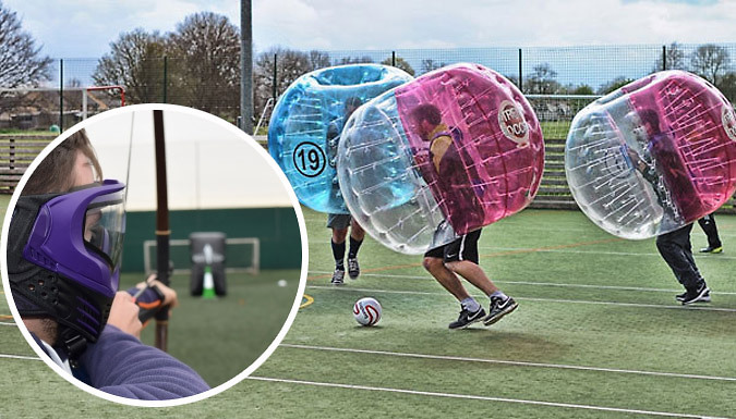 1-Hour Bubble Football Game For 10 with Optional Battle Zone Archery - 88 UK Locations