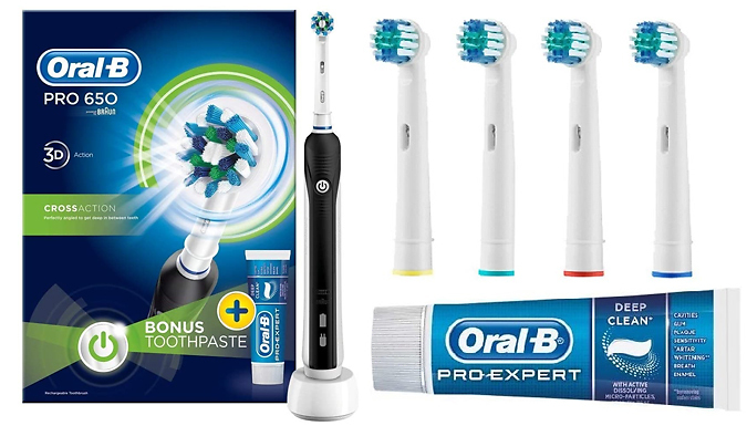 Oral-B 650 Cross Action Electric Toothbrush & Toothpaste - Optional Replacement Heads