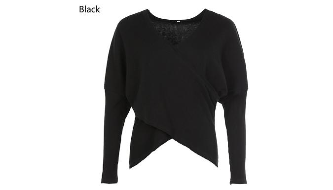 Knit V-Neck Cross Over Jumper - 4 Colours & 5 Sizes