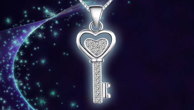 Crystal Key Heart Necklace