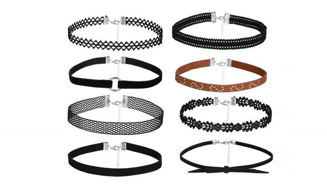 DDDeals - 8-Pack of Choker Necklaces - Lace, Velvet & PU Leather