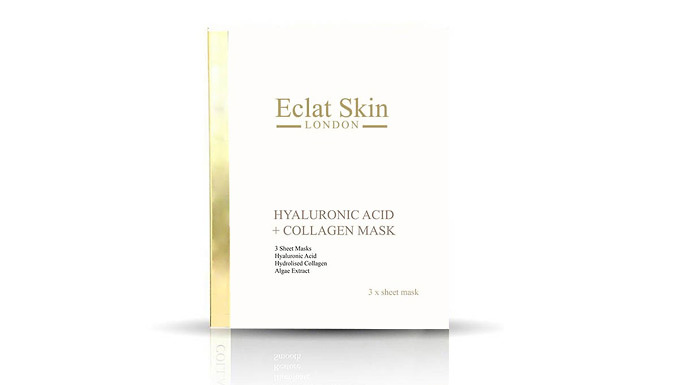 Sheet Mask With Hyaluronic Acid and Collagen - 3 or 6 Pack