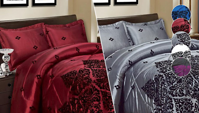 Luxury 3Piece Damask Bedspread  5 Colours