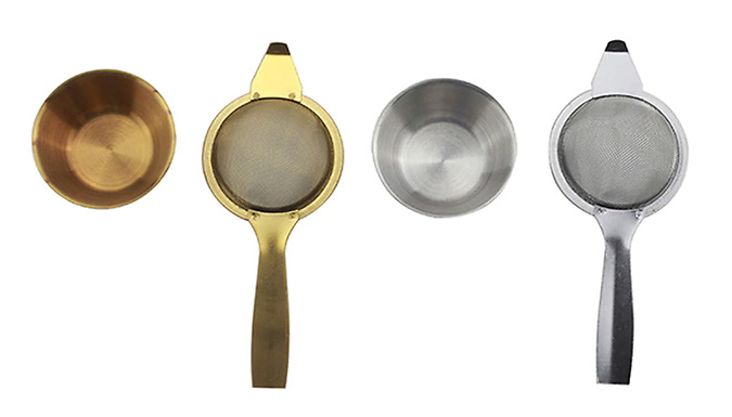 1 or 2 Retro-Style Stainless Steel Tea Strainers - 2 Colours
