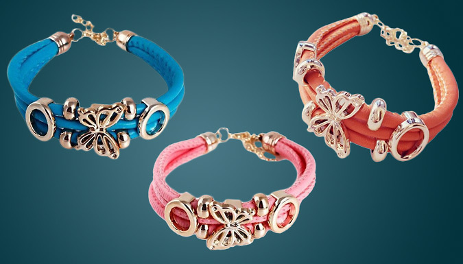 Faux Leather 18K Gold-Plated Butterfly Bracelet - 3 Colours