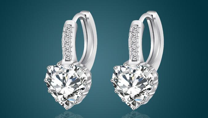 3ct Swarovski Elements Heart Earrings