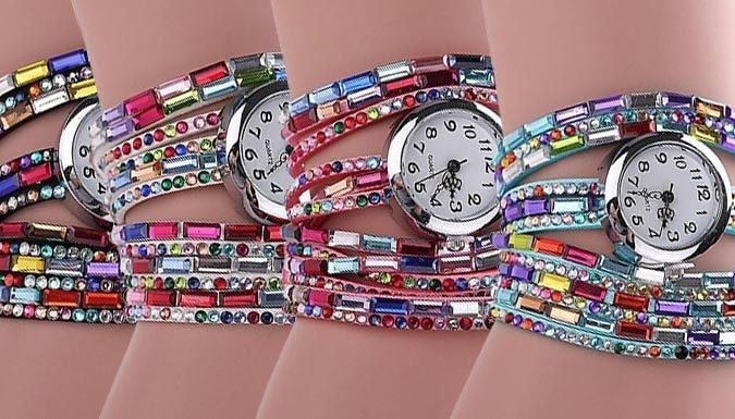 18K White Gold-Plated Eliza Swarovski Elements Wrap Watches - 4...