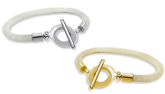 18K Gold Toggle Bangle - White Gold or Gold Plated