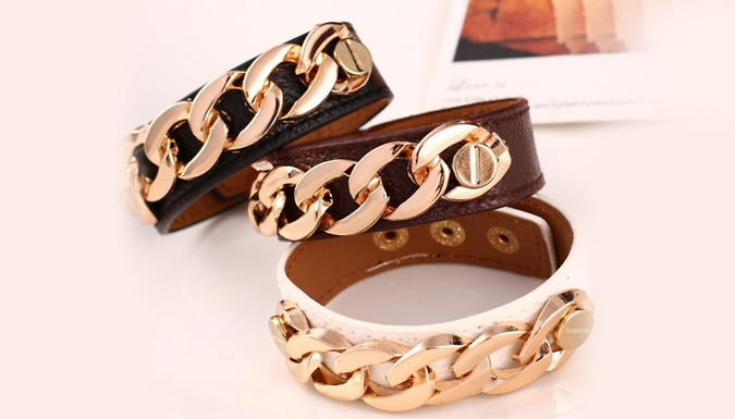 Faux-Leather Chain Cuff - 3 Colours