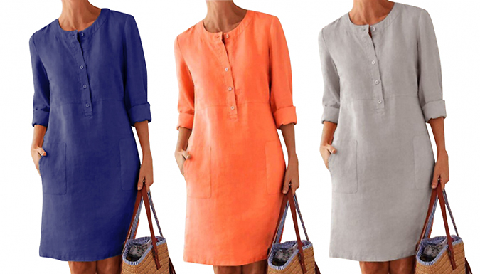 Casual Round Neck Button-Up Shirt Dress - 6 Colours & 6 Sizes