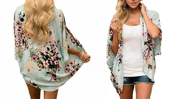 Chiffon Chinoiserie-Style Kimono – 3 Colours & 4 Sizes (£9.99)