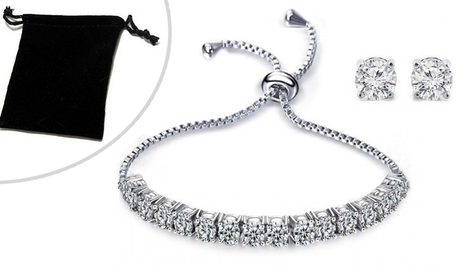 14K White Gold-Plated Adjustable Tennis Bracelet and Earrings Set