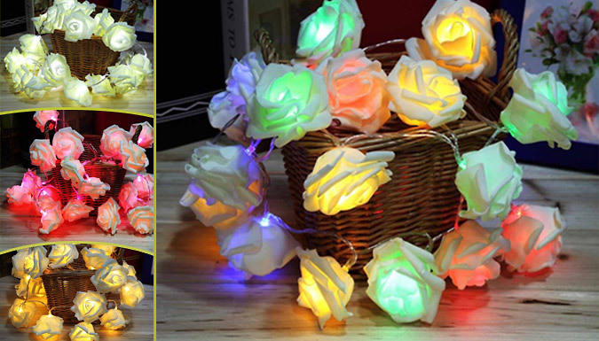 Indoor Rose String Lights : Hot SaverCode UK Deal Indoor Rose Flower String Light Decoration Four Colours from Go ...