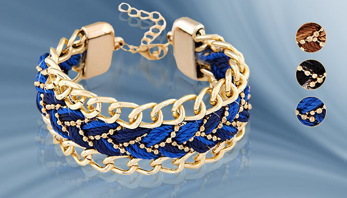 Braided 22K Gold-Plated Chain Bracelet - 3 Colours