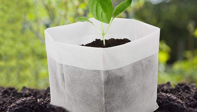 100 Pack of Non-Woven Nursery Plant Grow Bags - 4 Sizes
