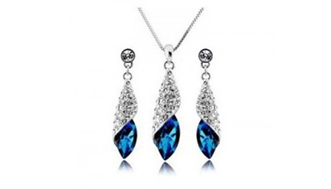 White Gold Plated Blue Stone Set