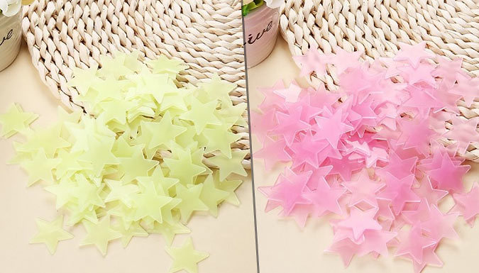 Image of 100-Piece Luminous Wall Star Sets - 4 Colours