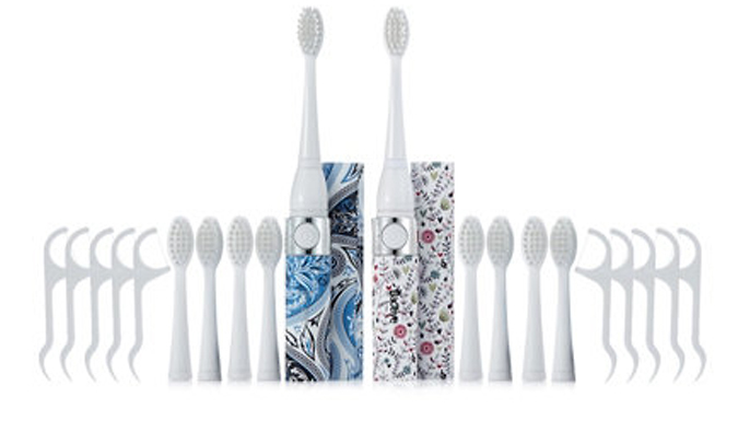Set of 2 Sonic Toothbrushes + Accessories!