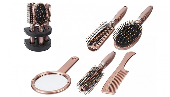 6-Piece Hair Brush & Mirror Stand - 2 Colours from Ebeez