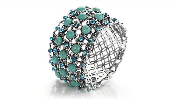 Regal Flower Turquoise Cuff Bracelet