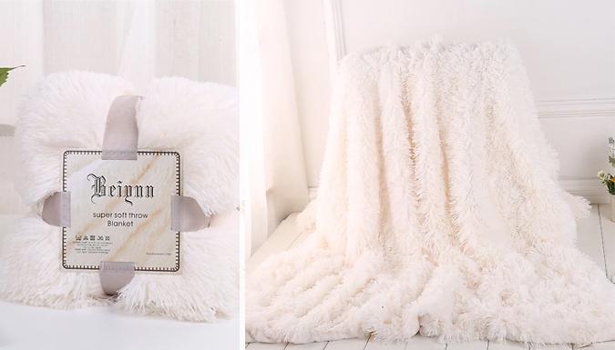 Faux Fur Plush Blanket - 8 Colours & 2 Sizes