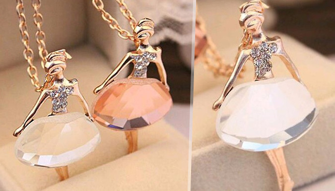 Crystal Ballet Girl Necklace - Pink or White