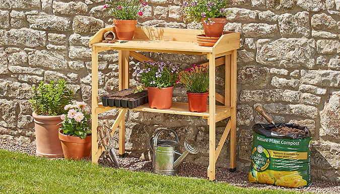 Wooden Two-Tier Potting Bench