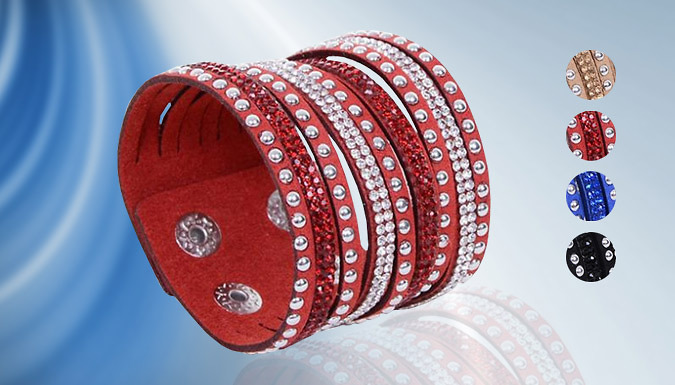 Multi-Layer Swarovski Elements Cuff Bracelet - 4 Colours