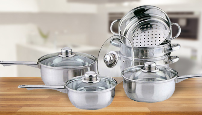6Piece Stainless Steel Cookware and Steamer Set