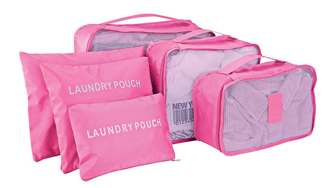 6-Piece Travel Bag Organiser & Laundry Pouch Set - 3 Colours from Home Season