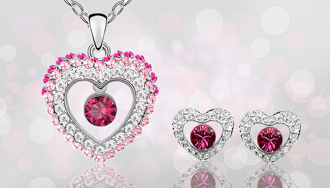Royal Princess Pink Crystal Jewellery Set