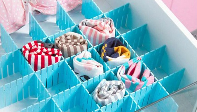 Pack of 4 SlotAndSort Plastic Grid Drawer Dividers - 3 Colours & 2 Sizes