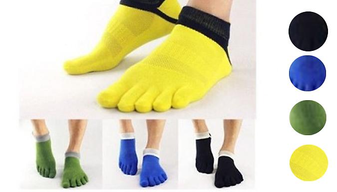 Pair of 5 Toe Yoga Cotton Socks - 3 Colours
