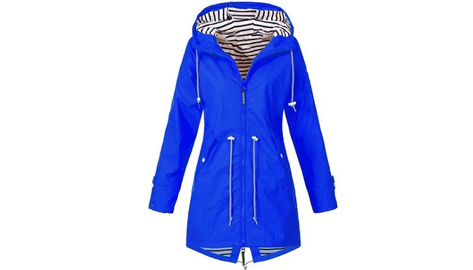 Women's Long Hooded Raincoat - UK Sizes 6-20 & 6 Colours! from GoGroopie