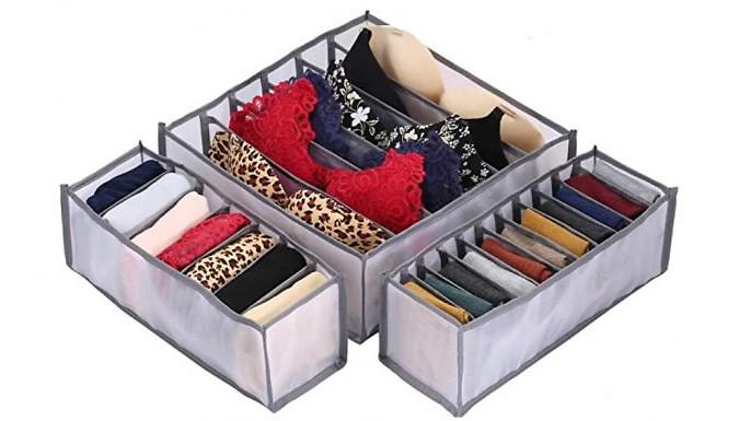 6, 7 or 11-Grid Underwear Organiser - 3 Colours