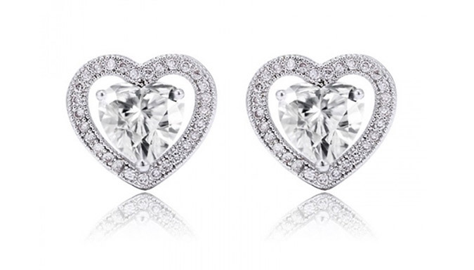 Silver-Plated Swarovski Elements Halo Heart Earrings