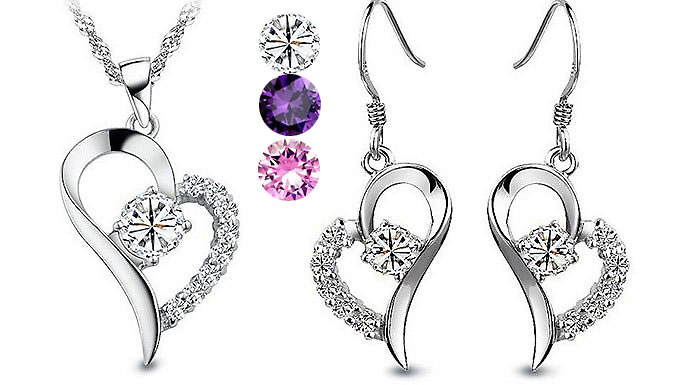 Swarovski Elements Crystal Heart Duo Set - 3 Colours