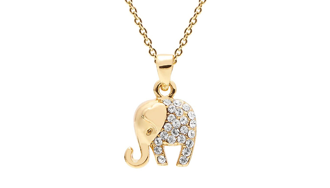 Elephant Necklace or Bracelet Made with Swarovski Crystals