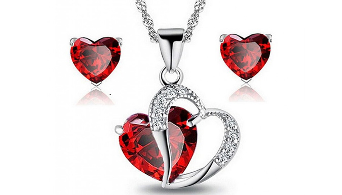 Valentine's Red Heart Necklace Set