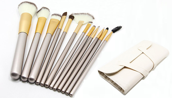 12 Champagne Make-Up Brush Set with Bag