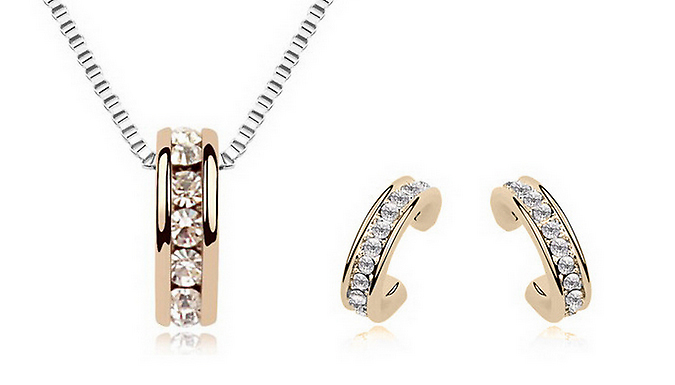 Gold-Coloured Simulated Crystal Hoop Necklace and Earrings Set