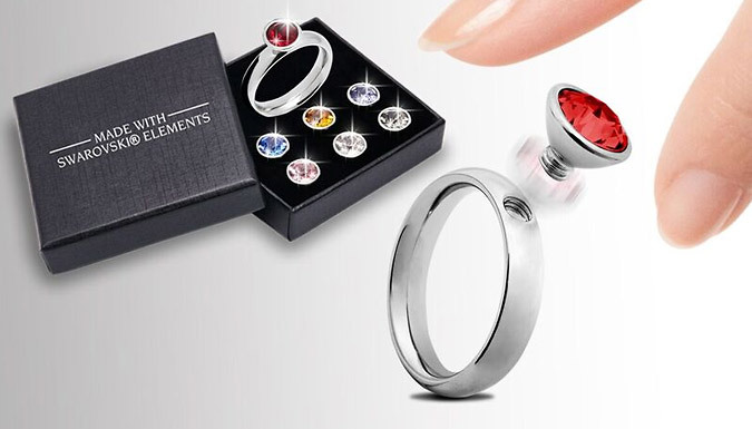7-Stone Interchangeable Ring Set With Crystals From Swarovski Elements